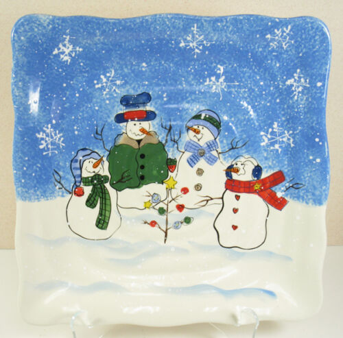 "Sonoma Button Up Snowflake Snowman 11"" Square Christmas Holiday Serving Plate"