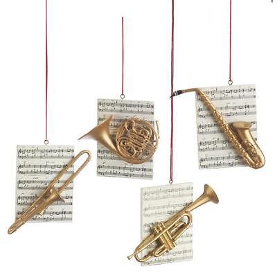 (NEW Instrument w/ Sheet Music Saxophone Trumpet, Trombone, or Horn Ornament)