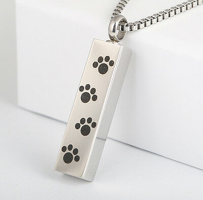 Black Paw Print Rectangle Silver Stainless Steel Cremation Urn Pendant Necklace  ()