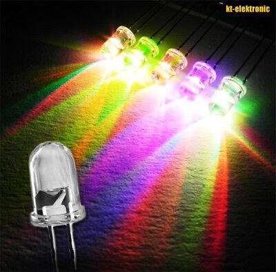 10 Stück LED 5mm Farbwechsel RGB Auto Regenbogen langsam 10000mcd