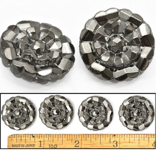 22mm Vintage Czech Glass Hematite Silver Luster Faceted Daisy FLOWER Buttons 4pc