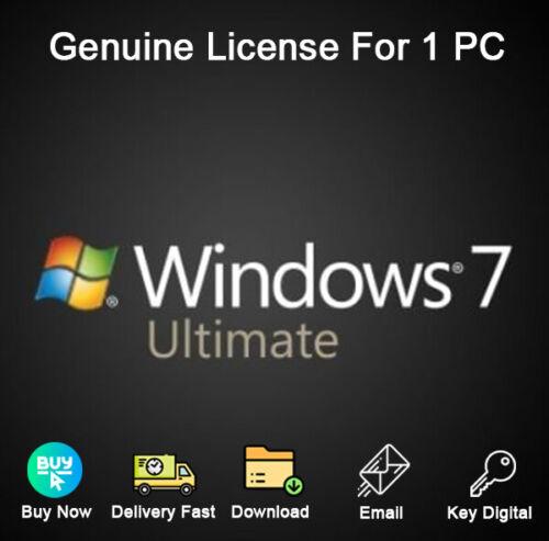 Windows 7 Ultimate 32/64bit Activation Genuine License For 1 PC