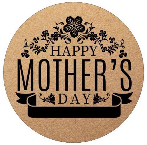 24x 40 mm feliz el Dia De La Madre Kraft PEGATINAS//SELLOS Momia//mamá//Floral//Vintage