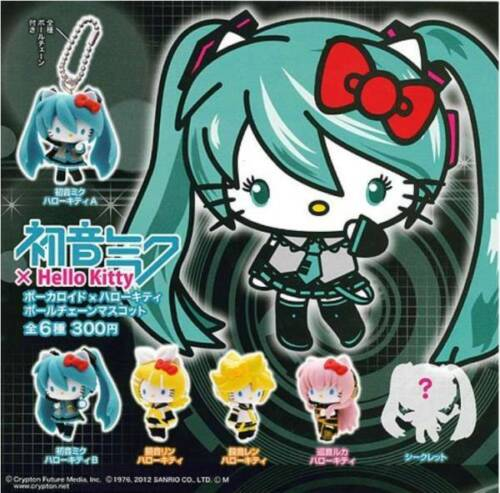 HATSUNE MIKU × Hello Kitty Vocaloid Keychain 6 types Complete with Secret mascot