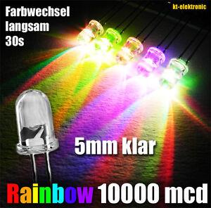 50 Stück LED 5mm RGB Auto Regenbogen Farbwechsel langsam 10000mcd