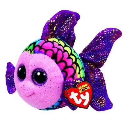 "Rainbow Fish 6"" Ty Beanie Boos Puppy Glitter Big Eyes Plush Stuffed Animals Toy"