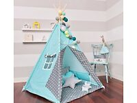 TIPI TENT TURQUOISE - GRAY WITH A WINDOW AND FOUR PILLOWS (SQUARE, CLOUD, 2 X STAR)