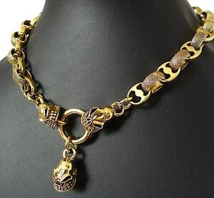 HEAVY-MAFIA-SKULL-GOLD-BRASS-CHOKER-NECKLACE-19-BIG-BIKER-PUNK-ROCK-CHAIN-LINK