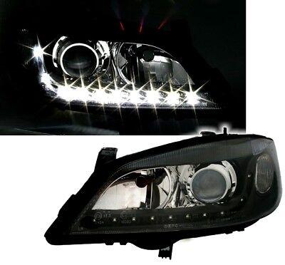 Scheinwerfer Opel Astra G Schwarz LED Tagfahrlicht Optik H7 Halogen LWR Set Neu
