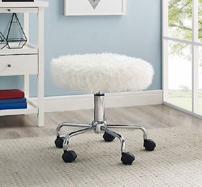 Rolling Desk Chair White Faux Fur Stool Swivel Wheels Salon Office Vanity Round