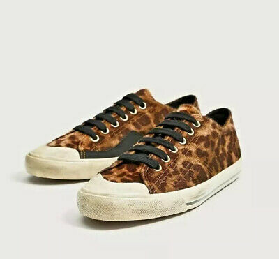 ZARA Men's Deportivo Leopard Print Hair Style Trainers Sneakers Shoes Sz. 8 NEW