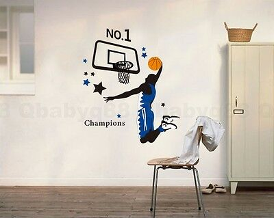 Home Decoration - Basketball Sports Removable Wall Stickers Decals Home art Decor Deco Mural kids