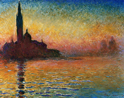 Sunset In Venice Landscape Art Poster Print by Claude Monet, 28x22