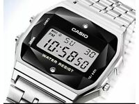 Casio A159WAD-1 W/ Natural Diamonds Digital Steel Watch Made in Japan A159 +Case