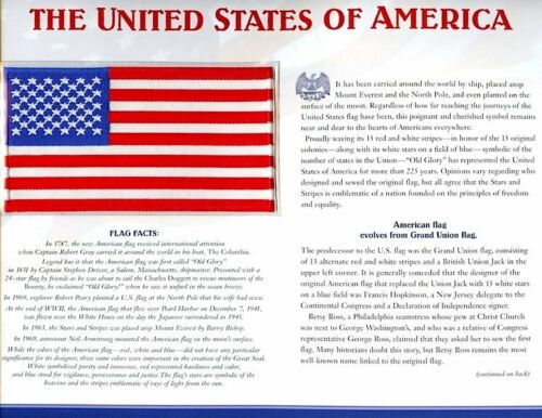 UNITED STATES of AMERICA Willabee Ward USA FLAG PATCH CARD State Flag Collection