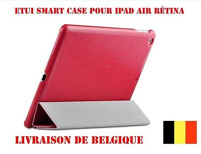 Apple iPad Air Étui Intégral Smart Cover Magnétique Wake-up & Sleep Red +film