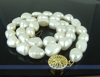 - 14KGP HUGE 11mm Baroque Freshwater White Pearl Necklace | 99.7% SATISFIED
