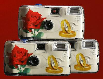 10x Einwegkamera Hochzeit Ringe mit Rose / Hochzeitskameras Einwegkameras