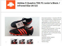 Adidas 11 Questra TRX Junior's FG Boots Size UK 5.5 Black Infrared