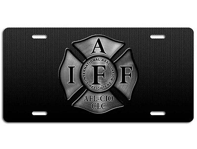 Firefighter IAFF License Plate - Maltese Cross Fire Department Steel Auto - Flame License Plate