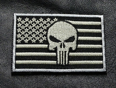 PUNISHER USA FLAG ACU TACTICAL MORALE SWAT ARMY HOOK LOOP PATCH