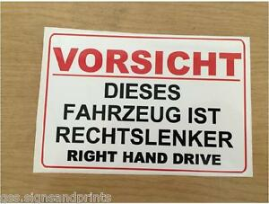 German right hand drive sticker sign camper hgv american for American home choice