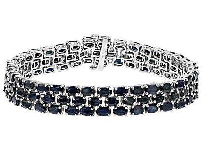 Bracelet Black Spinel 3-Row Sterling Silver Oval cut Platinum over 8