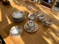 Vintage Pink and Gold Tuscan China Tea Set
