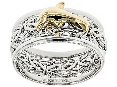 18K Yellow Gold Clad Dolphin Byzantine Ring Real Solid 925 Silver Size 6 7 8