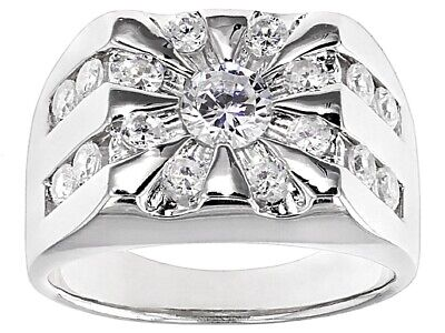 2,00 CTW BELLA LUCE (R) GENTS RING SET IN RHODIUM  PL 925 STERLING SILVER ~SZ -