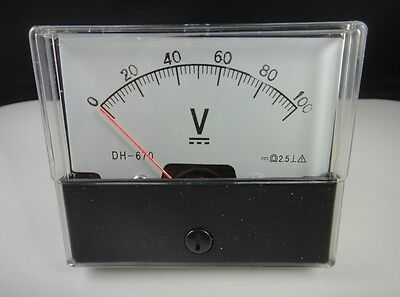 Analog Volt Voltage Voltmeter Panel Meter Dh-670 Dc 0-100v