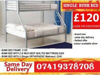 Brand New metal triosleeper Bunkk Bed Available With Mattress mazed