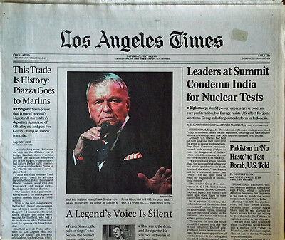 Frank Sinatra   Los Angeles Times   Entire Newspaper    Cvr Story   May 16  1998