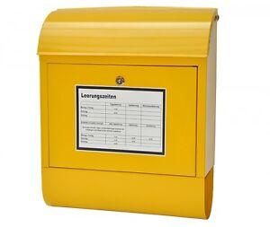 nanook Wandbriefkasten Briefkasten Postkasten mit Zeitungsfach gelb + Aufkleber