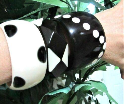 Lot of 3 Resin Bangle Bracelets Black Light Cream Polka Dots GREAT JEWELRY LOOK