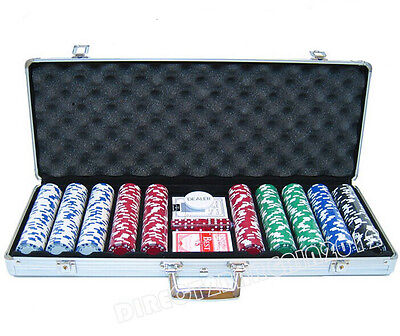 NEW 500 CASINO POKECHIPS SET TEXAS CARD GAME 5 DICE WITH ALUM.CASE