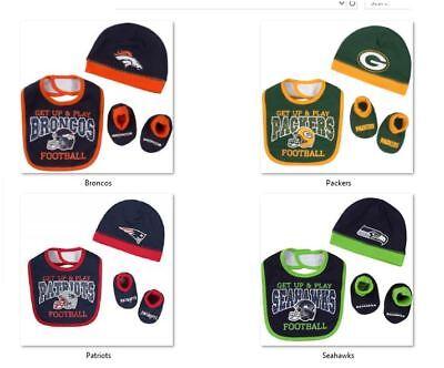 NFL 3 pack Cap Bib & Bootie Set Gerber Childrenswear Select Size THEN Team Below