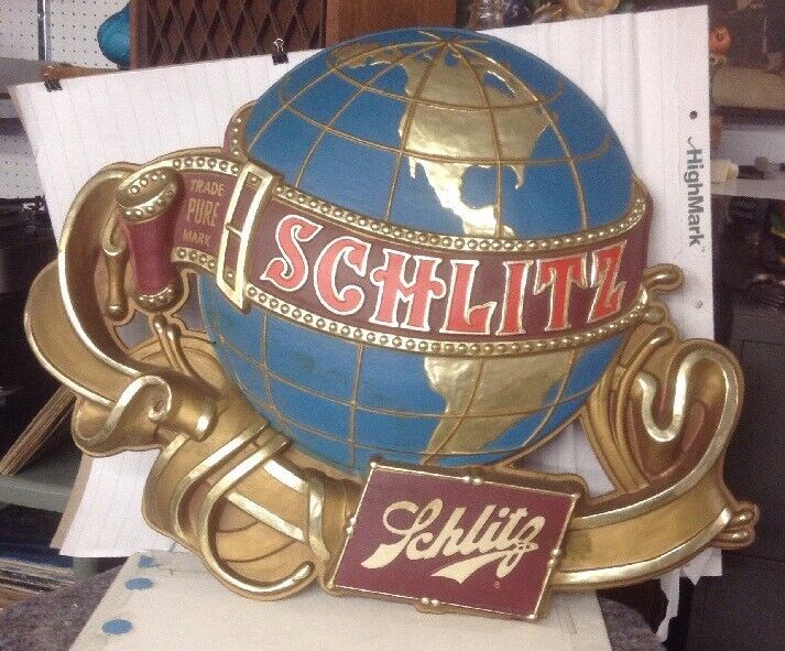 Vintage Schlitz Globe Beer Sign 3D Bar Display Earth Pure Trade Mark Huge!!! 3