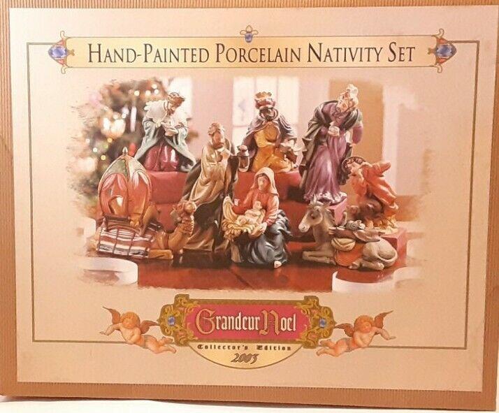 Hand Painted Porcelain Nativity Set Grandeur Noel Collector