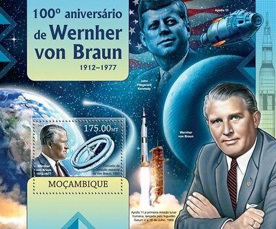 Wernher von Braun Apollo XI Rocket Scientist Space Stamp Sheet/2012 Mozambique