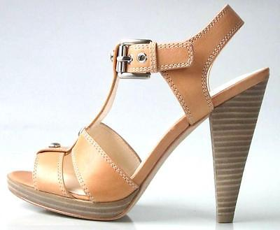 new COACH 'Ginger' tan T-strap platforms open-toe heels shoes - NUDE color