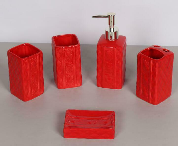 5pcs Resin Square Bathroom Accessories Set Toothbrush Dish Soap Holder Red Ebay