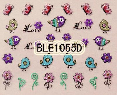 Glitter Colorful Bird Flower Butterfly Letter Love 3D Nail Art Sticker BLE1055D