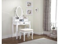 Dressing table with mirror and stool White