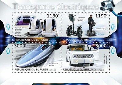 ELECTRIC VEHICLES (Car/Train/Segway/Metro) Transport Stamp Sheet (2012 Burundi)