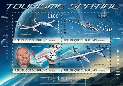 Richard Branson VIRGIN GALACTIC & White Knight Aircraft Space Stamp Sheet (2012)