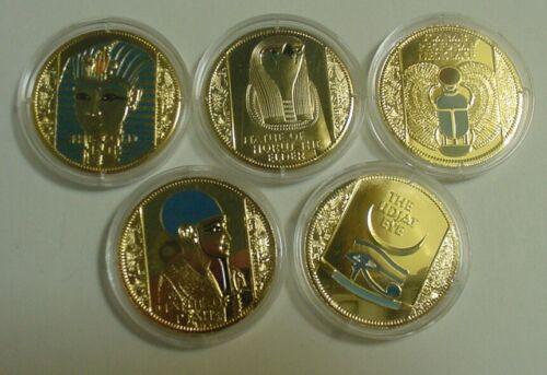 2009 Somali 5 Treasures of Tutankhamun 250 Shillings Colored Gold Plated Coins