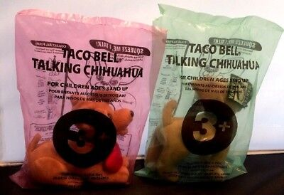 MIP! 2 Taco Bell Talking Chihuahua  Promo Toy 6 in. Collectible Dogs