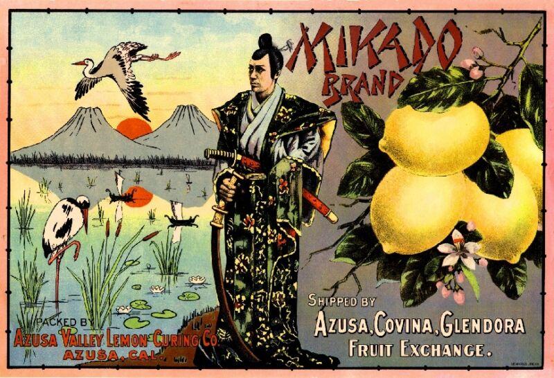 Azusa Mikado Japan Japanese Samurai Lemon Citrus Fruit Crate Label Art Print
