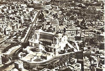 ROMA PANORAMA DALL'AEREO ANNI '60